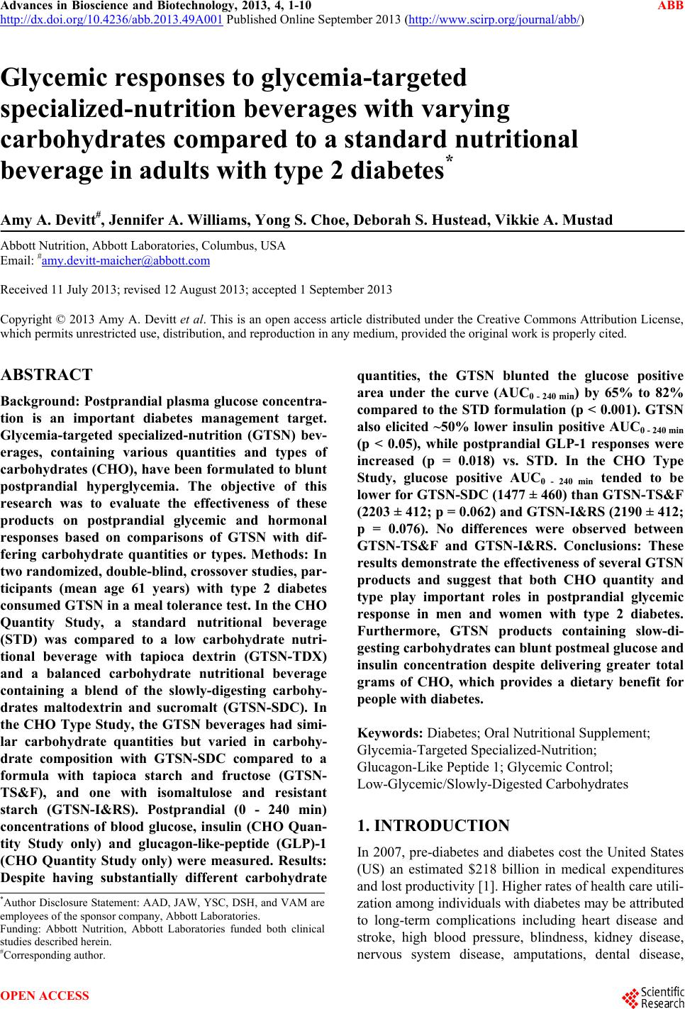 Glycemic responses to glycemia-targeted specialized