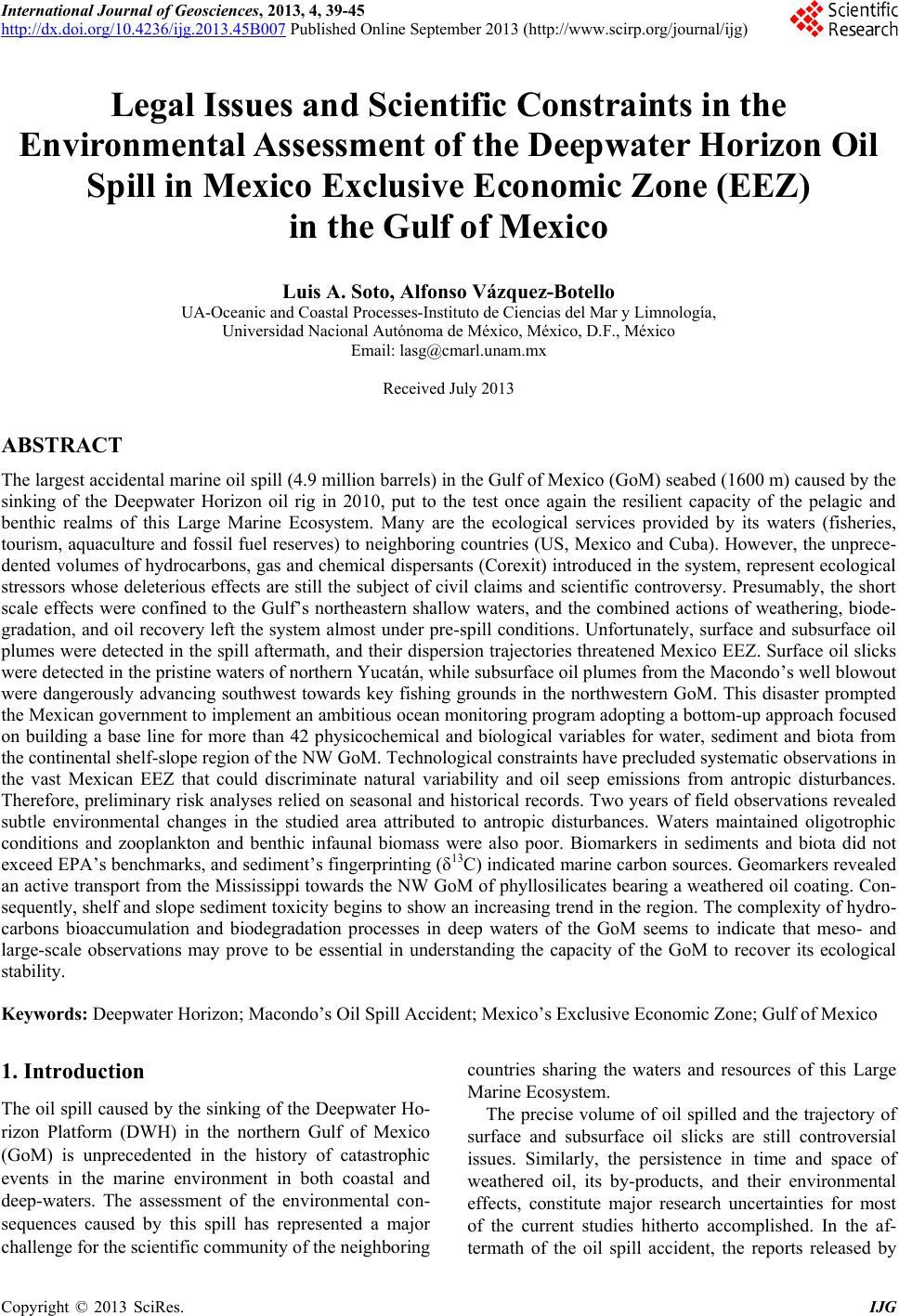 deepwater horizon oil spill scholarly articles