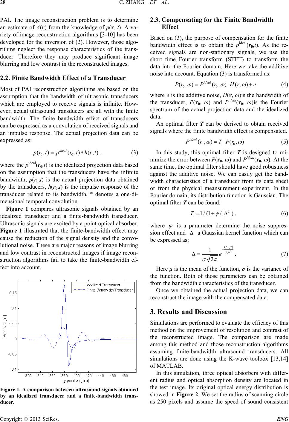 Compensation of Finite Bandwidth Effect by Using an Optimal Filter