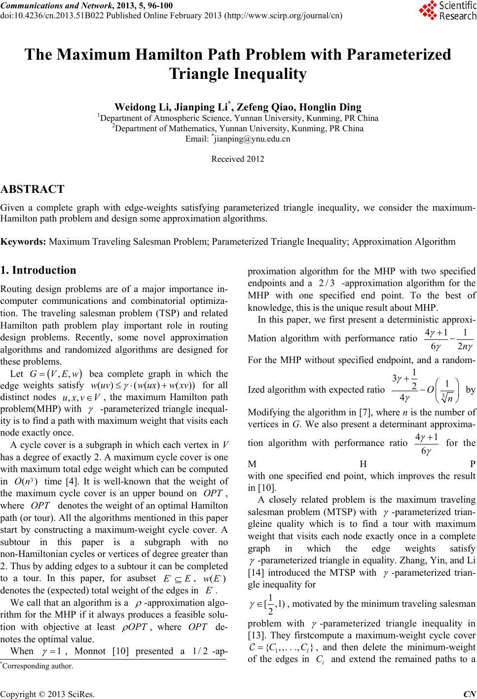 The Maximum Hamilton Path Problem With Parameterized Triangle Inequality