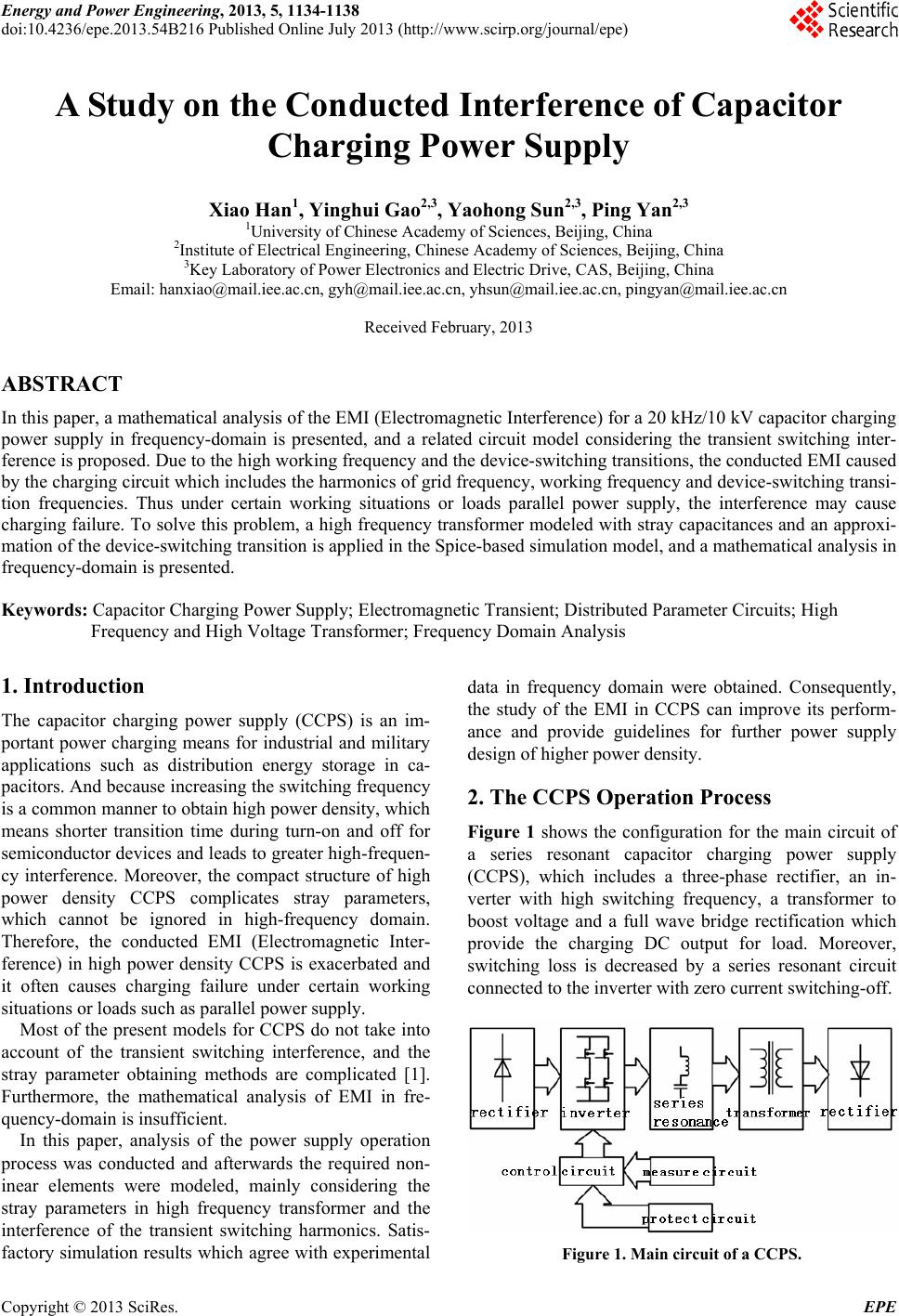 A Study On The Conducted Interference Of Capacitor Charging Power Circuit Energy And Engineering 2013 5 1134 1138