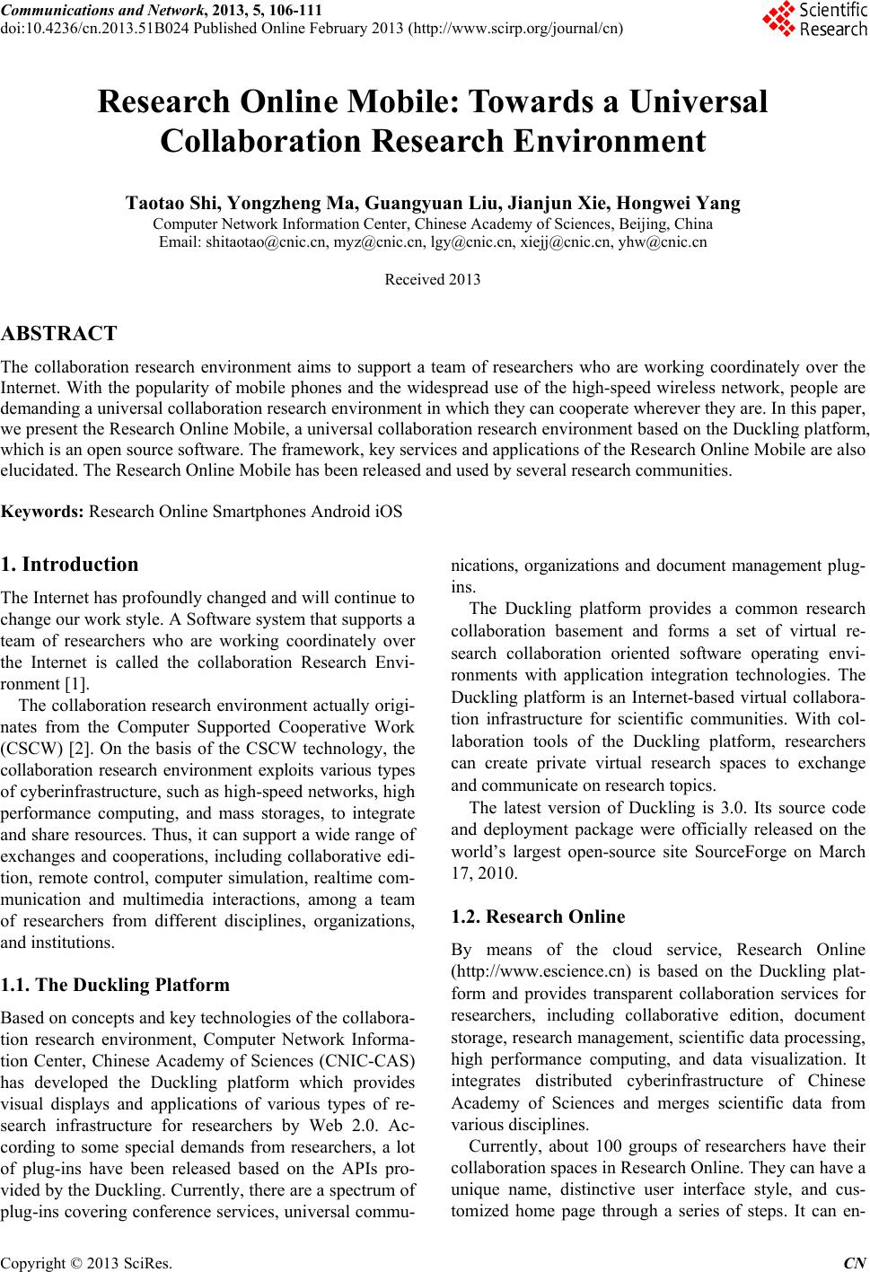 Research Online Mobile: Towards a Universal Collaboration Research
