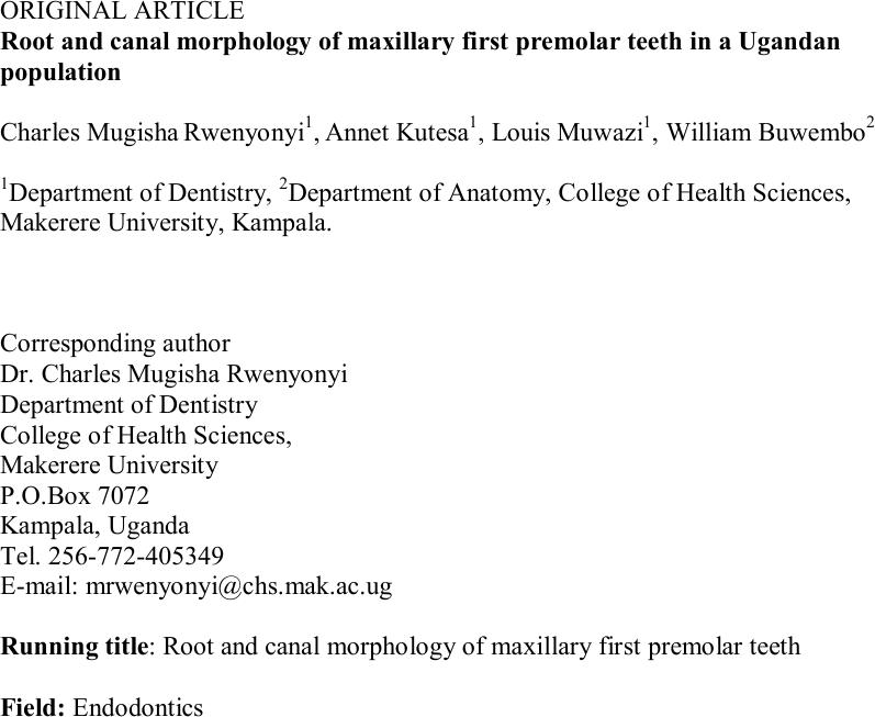 Root and Canal Morphology of Maxillary First Premolar Teeth in a ...