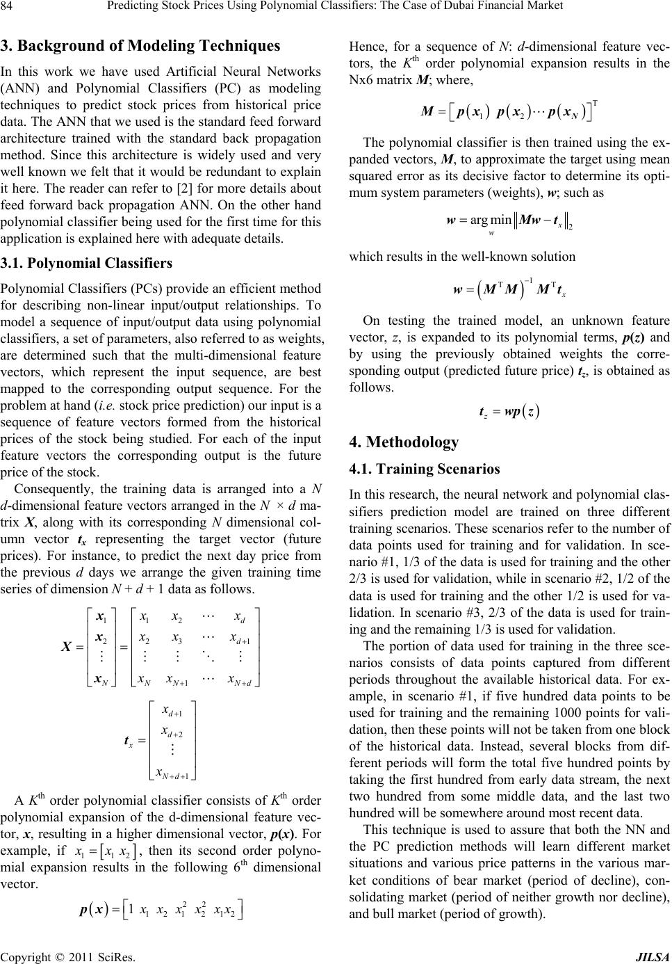 Predicting Stock Prices Using Polynomial Classifiers: The