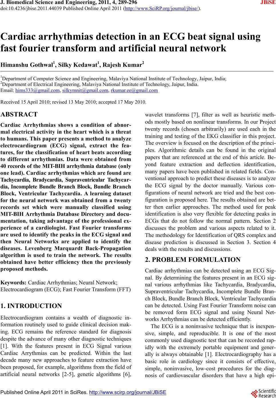 Cardiac arrhythmias detection in an ECG beat signal using