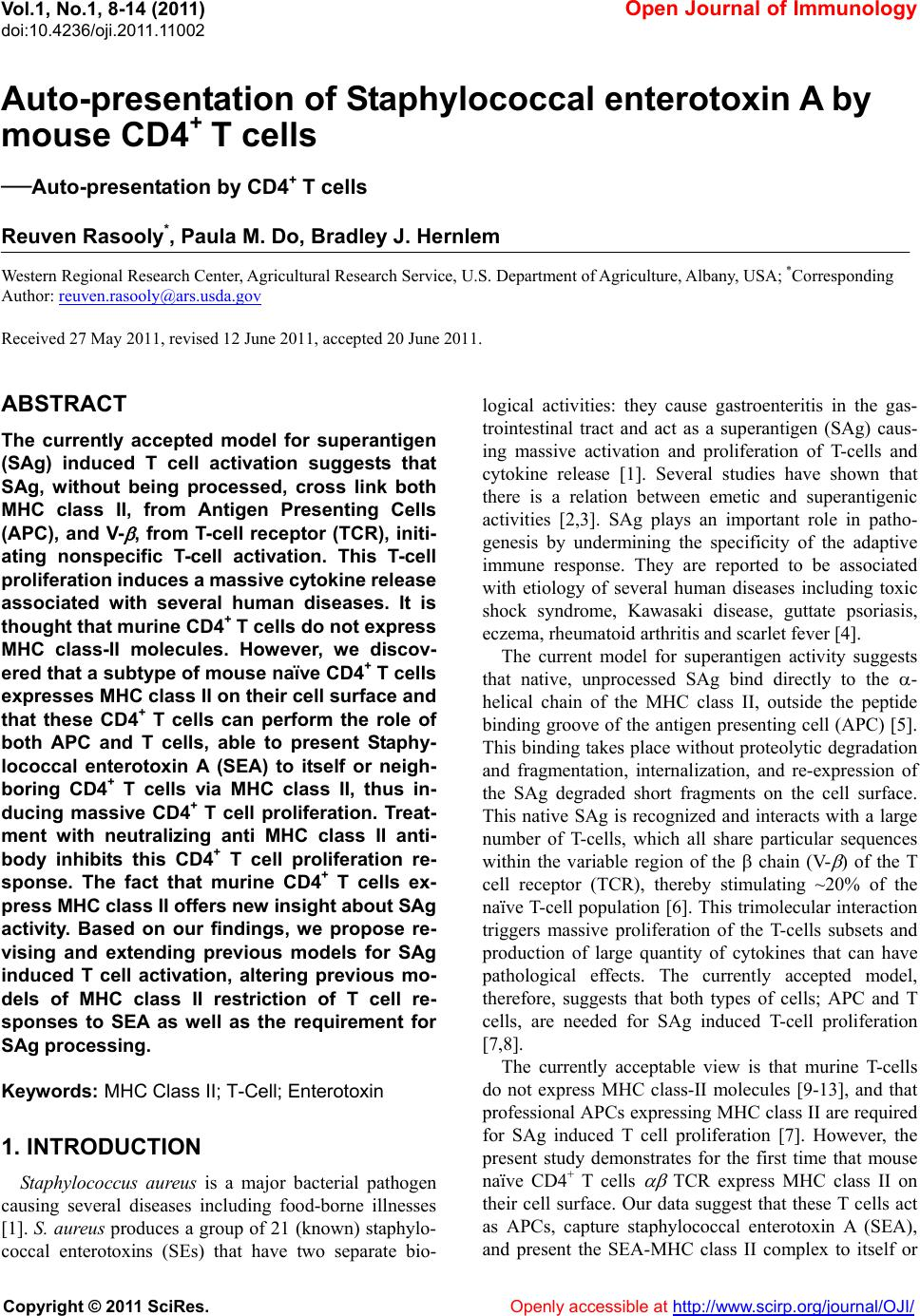 Auto-presentation of Staphylococcal enterotoxin A by mouse
