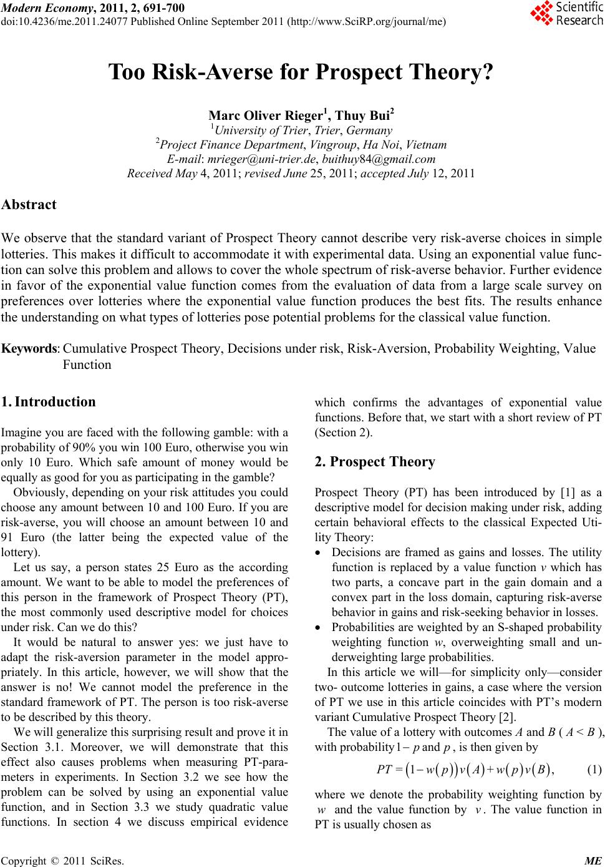 prospect theory essay