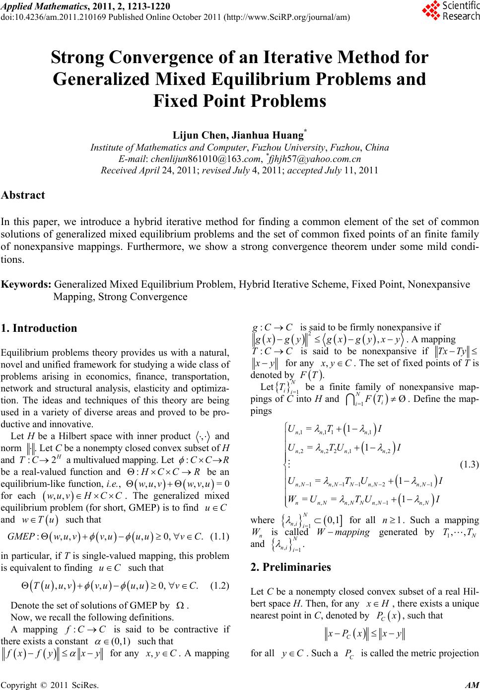 Strong Convergence of an Iterative Method for Generalized