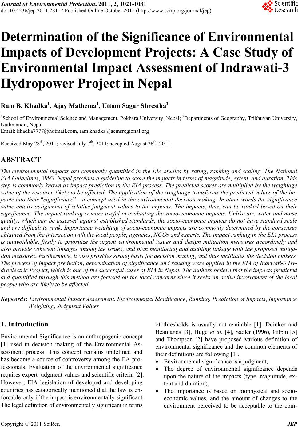 environmental impact assessment case study hydropower project